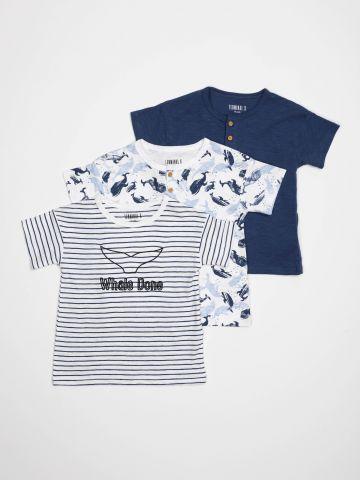 מארז 3 חולצות טי שירט עם הדפסים / בייבי בנים