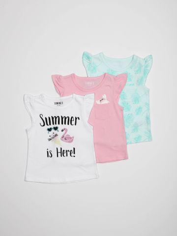 מארז 3 חולצות טי שירט עם מלמלה / בייבי בנות