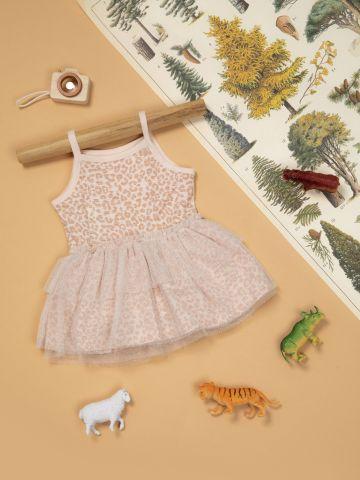 שמלה בהדפס מנומר עם טול גליטר