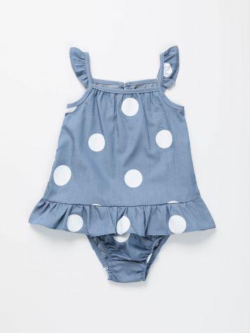 שמלה בהדפס נקודות עם מלמלה / בייבי בנות