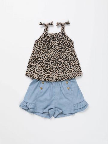 סט גופייה בהדפס מנומר ומכנסיים קצרים / בייבי בנות