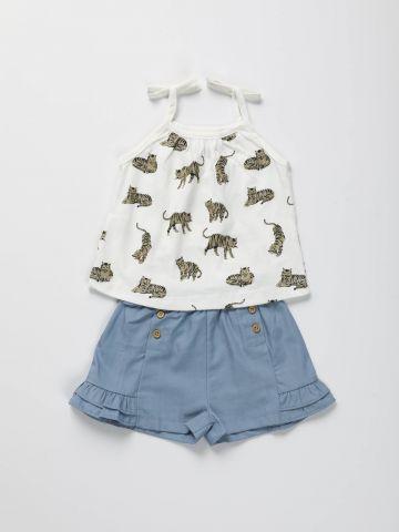 סט גופייה בהדפס נמרים גליטר ומכנסיים קצרים / בייבי בנות