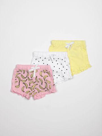 מארז 3 מכנסיים קצרים עם מלמלה / בייבי בנות