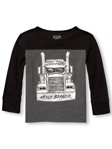חולצת טי שירט עם הדפס משאית בחזית/ בנים