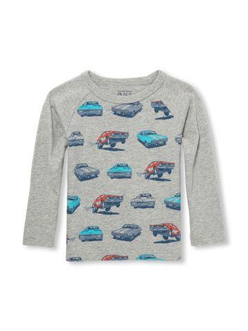 טי שירט שרוולים ארוכים עם הדפס מכוניות/ בנים
