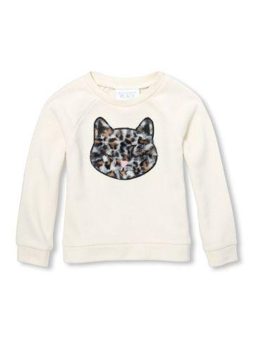 סווטשירט עם רקמת חתול מפרווה/ בנות