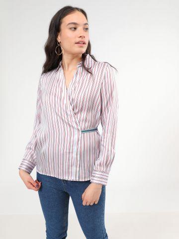 חולצת מעטפת בהדפס פסים מולטי קולור