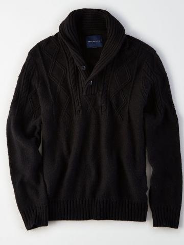 סוודר בטקסטורות משתנות בשילוב כפתורים / גברים