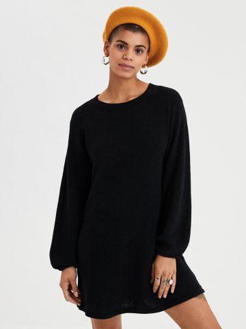 שמלת סוודר שניל עם שרוולי בלון