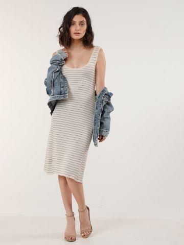 שמלת מידי ריב בהדפס פסים