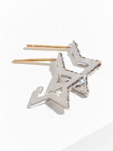 עגילים נצמדים בצורת כוכב כסף משובץ אבני חן UO