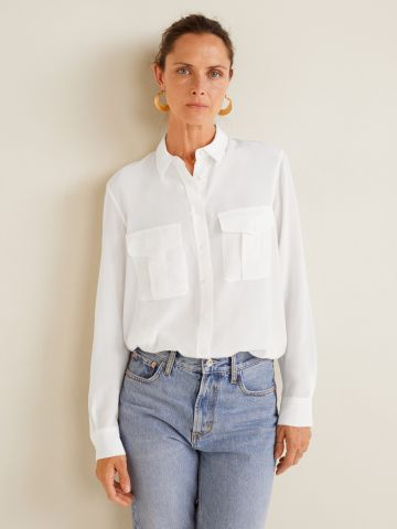 חולצה מכופתרת מבד נשפך עם כיסים