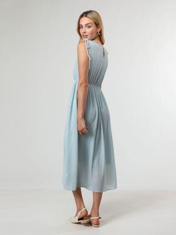 שמלת מידי עם עיטור פפלום בצוואר