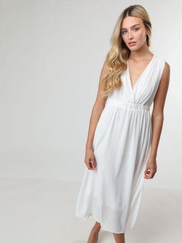 שמלת מידי בטקסטורת קרפ עם גומי מותן