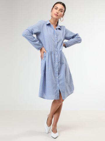 שמלת מידי פפלום מכופתרת בהדפס משבצות