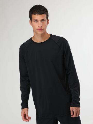 חולצת ספורט בשילוב רשת עם שרוולים ארוכים