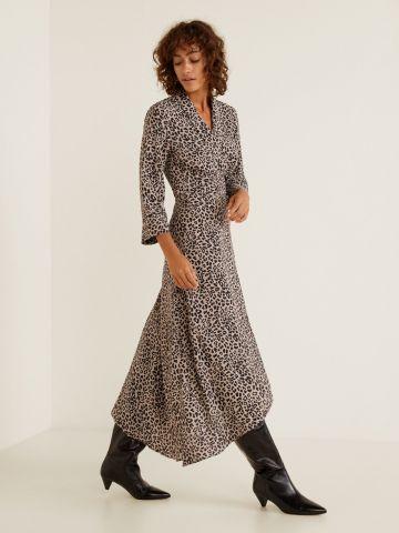 שמלת מקסי מעטפת בהדפס מנומר