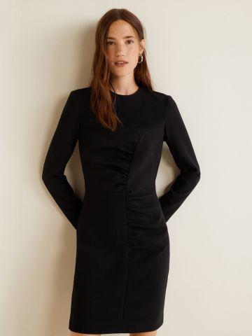 שמלת מיני ישרה עם עיטורי קפלים
