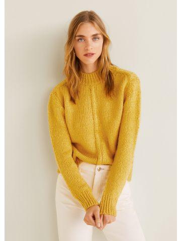 סוודר צמות עם צווארון גבוה
