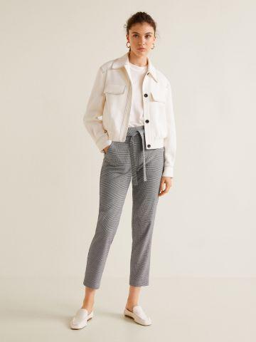 מכנסיים מחויטים בהדפס משבצות עם חגורת קשירה