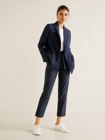 מכנסיים מחויטים בהדפס פסים עם חגורת קשירה