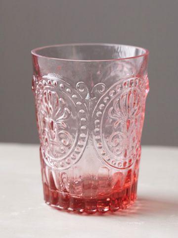 כוס זכוכית לשתייה קרה עם עיטורים / בינוני