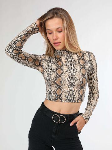 חולצת קרופ צווארון גבוה בהדפס נחש