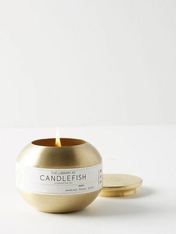 נר ריחני עגול בגימור מוזהב 9 Candlefish