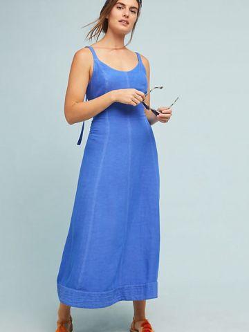 שמלת פשתן מקסי עם קשירת איקסים בגב