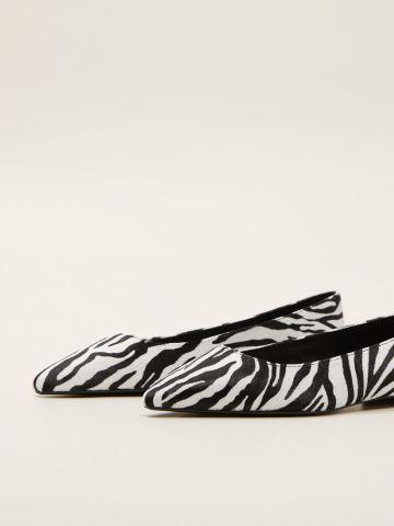 נעלי סירה מעור בהדפס זברה