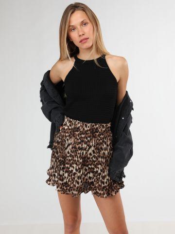 חצאית פליסה מיני בהדפס מנומר