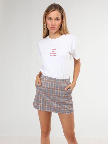 חצאית מיני בהדפס משבצות - חלק מחליפה