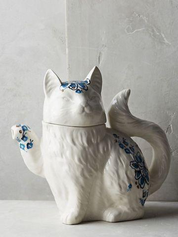קנקן תה פורצלן בצורת חתול בעיטור פרחים