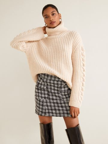 חצאית מיני טוויד משבצות