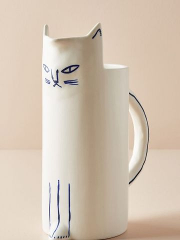 קנקן מדידה מעוצב מחרסינה בצורת חתול
