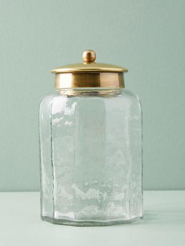 צנצנת אחסון מזכוכית לחדר האמבטיה