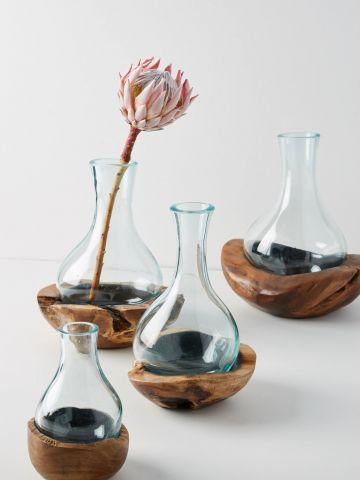 אגרטל זכוכית בשילוב עץ טיק