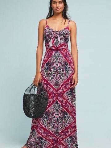 שמלת מקסי בהדפס פרחים בוהו עם אלמנט קשירה בחזית