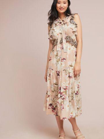 שמלת משי מקסי קומות בהדפס פרחים עם מלמלה מנומרת