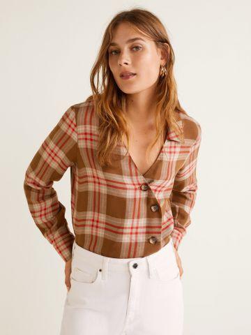 חולצה אסימטרית עם כפתורים בהדפס משבצות