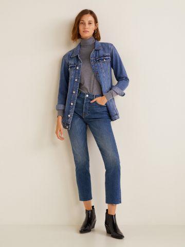 ג'ינס קרופ ישר עם סיומת פרומה
