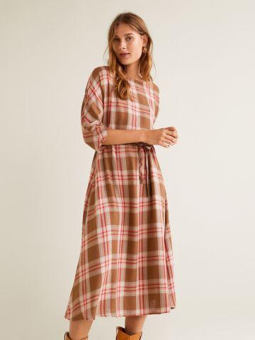 שמלת פשתן מידי בהדפס משבצות