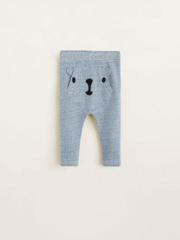 מכנסיים בהדפס זיגזג עם כיס דובי בחזית / בייבי בנים