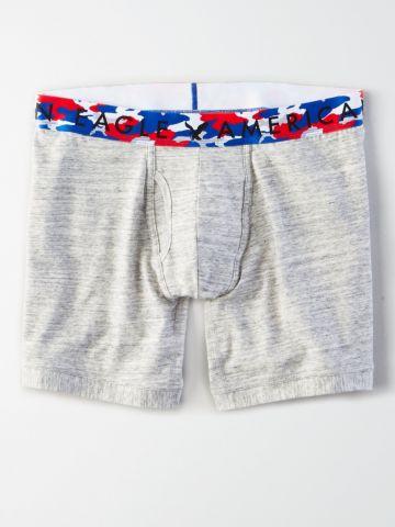 תחתוני בוקסר ג'רסי לונגליין עם גומי USA לוגו / גברים