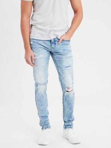 ג'ינס סקיני אסיד-ווש עם קרעים Level flex