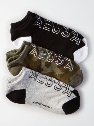 מארז 3 זוגות גרביים נמוכים לוגו / גברים