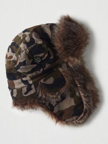 כובע ציידים קמופלאז' עם שוליים פרוותיים / גברים