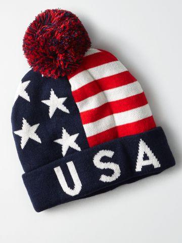 כובע גרב עם פונפון USA / גברים