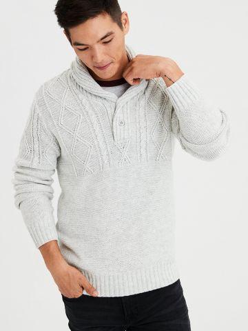 סוודר צמר בטקסטורות משתנות בשילוב כפתורים