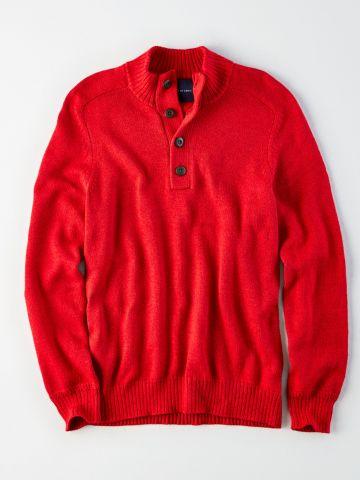 סוודר עם צווארון גבוה בשילוב כפתורים / גברים